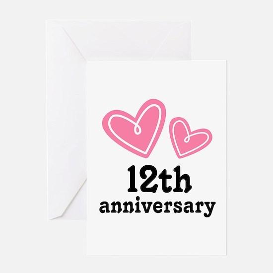 12th Anniversary Hearts Greeting Card
