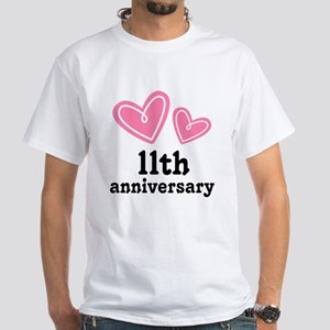 11th Anniversary Hearts White T-Shirt