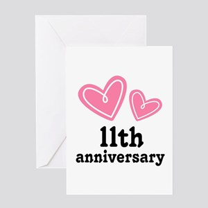 11th Anniversary Hearts Greeting Card