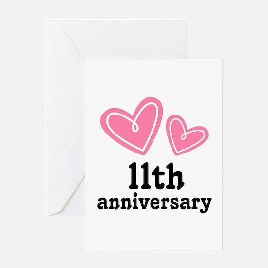 11th Anniversary Hearts Greeting Card
