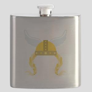 Viking Helmet Braids Flask