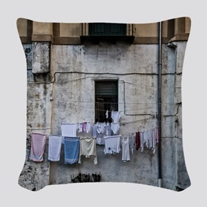 laundry day Woven Throw Pillow