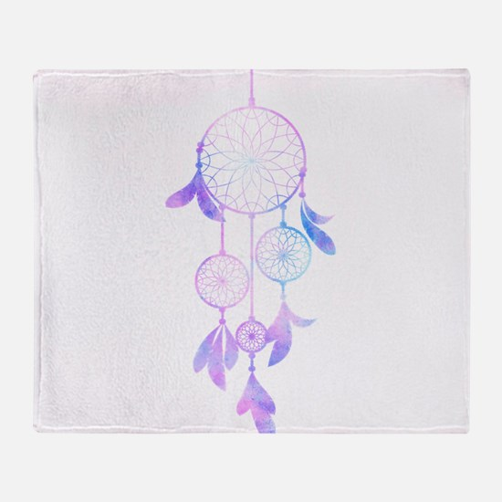 Bohemian Watercolor Dreamcatcher Throw Blanket