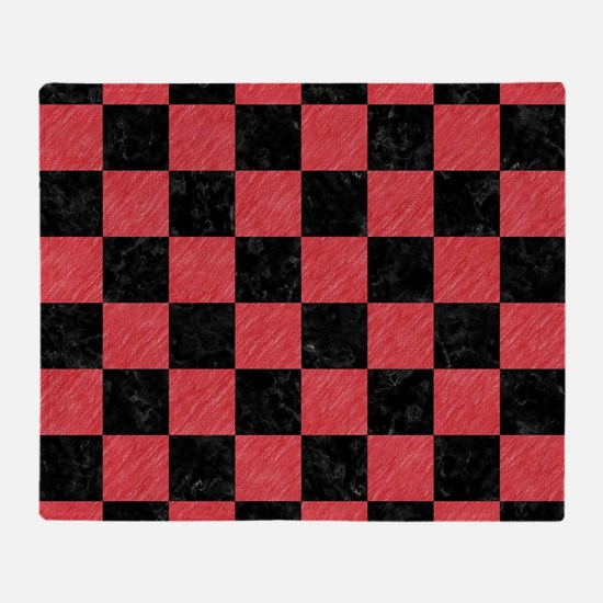SQUARE1 BLACK MARBLE & RED COLORED P Throw Blanket