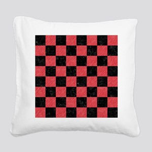 SQUARE1 BLACK MARBLE & RED CO Square Canvas Pillow