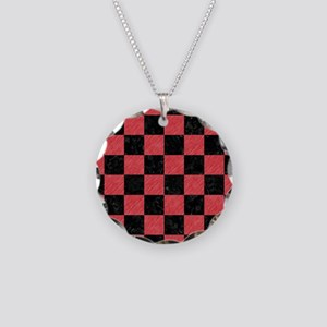 SQUARE1 BLACK MARBLE & RED C Necklace Circle Charm
