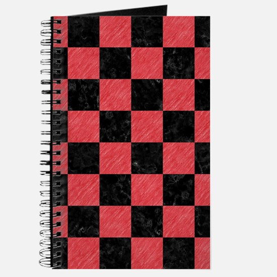 SQUARE1 BLACK MARBLE & RED COLORED PENCIL Journal