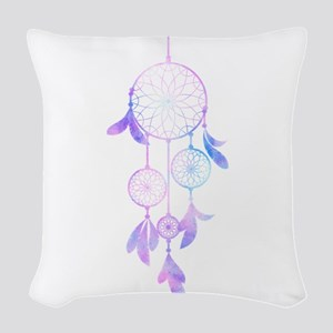 Bohemian Watercolor Dreamcatch Woven Throw Pillow