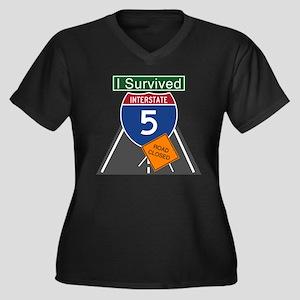 I-5 Closure Women's Plus Size V-Neck Dark T-Shirt