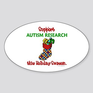 Autism Christmas Stocking 2 Oval Sticker
