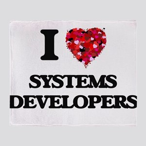 I love Systems Developers Throw Blanket