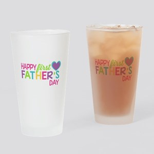 Happy First Father's Day Girls Drinking Glass