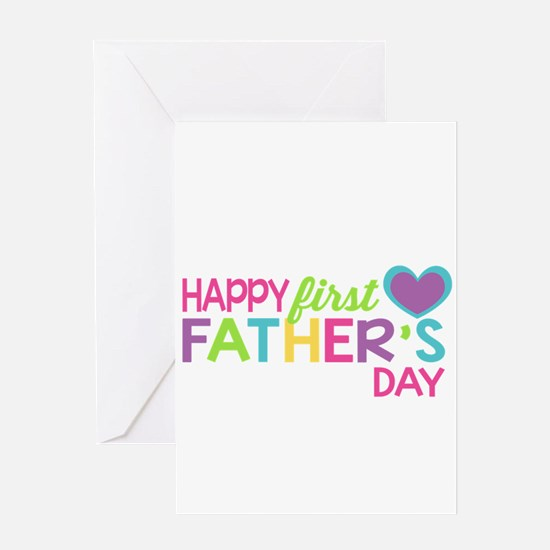 Happy First Father's Day Girls Greeting Cards