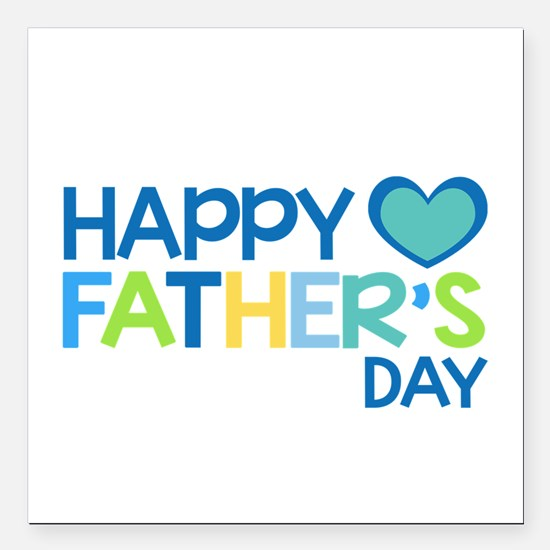 "Happy Father's Day Boys Square Car Magnet 3"" x 3"""