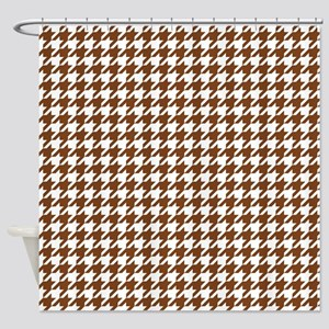 Chocolate Brown Houndstooth Pattern Shower Curtain