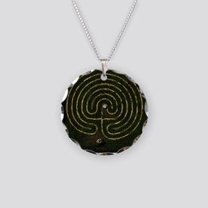 Labyrinth & well Necklace Circle Charm