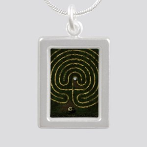 Labyrinth & well Silver Portrait Necklace