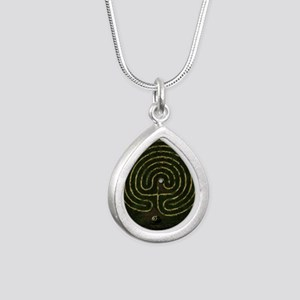 Labyrinth & well Silver Teardrop Necklace