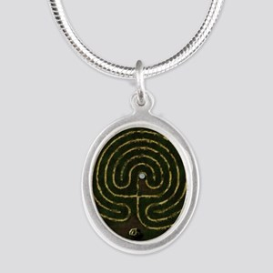 Labyrinth & well Silver Oval Necklace