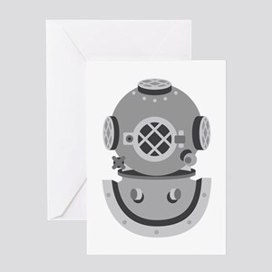 Diver Helmet Greeting Cards