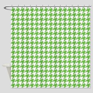 Green Houndstooth Pattern Shower Curtain