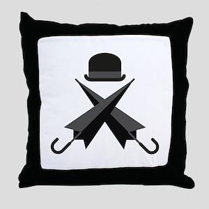 Bowler and Umbrellas Throw Pillow