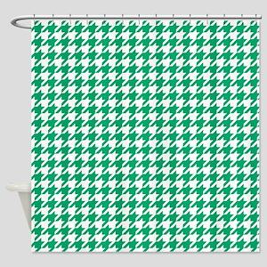Jade Green Houndstooth Pattern Shower Curtain