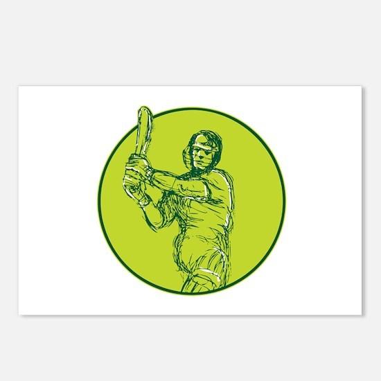 Cricket Player Batsman Batting Drawing Postcards (