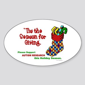 Autism Christmas Stocking 3 Oval Sticker