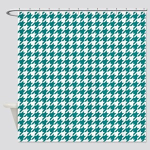 Teal Green Houndstooth Pattern Shower Curtain