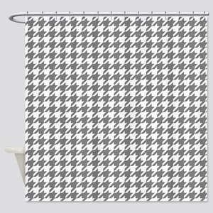 Gray Houndstooth Pattern Shower Curtain