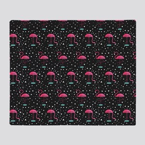 Pink on Black Flamingos Throw Blanket