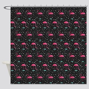 Pink on Black Flamingos Shower Curtain