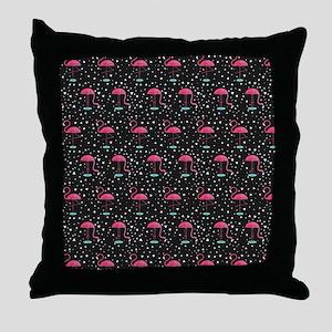 Pink on Black Flamingos Throw Pillow