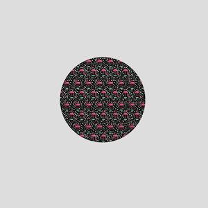 Pink on Black Flamingos Mini Button