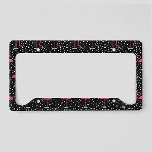 Pink on Black Flamingos License Plate Holder