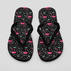 Pink on Black Flamingos Flip Flops