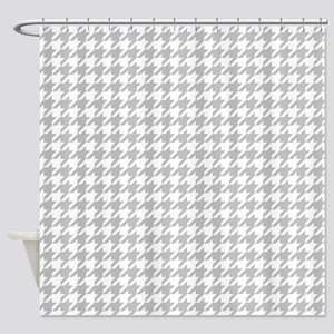 Silver Gray Houndstooth Pattern Shower Curtain