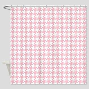 Pink Houndstooth Pattern Shower Curtain