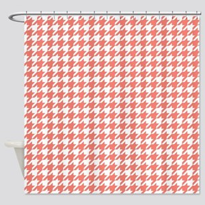 Salmon Pink Houndstooth Pattern Shower Curtain