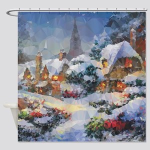 Snow Christmas Village Low Poly Shower Curtain