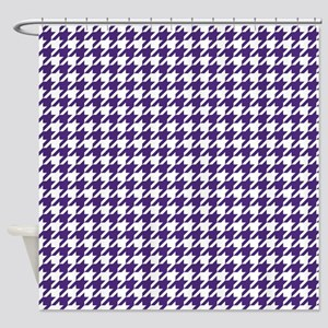 Indigo Purple Houndstooth Pattern Shower Curtain