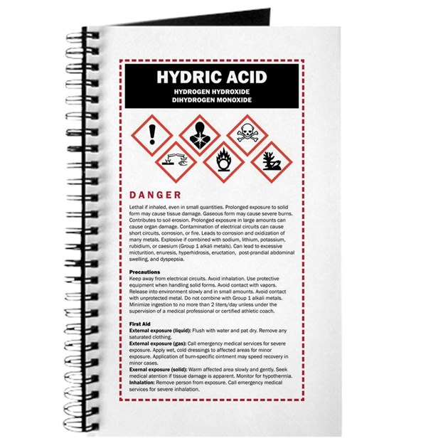 hydric acid dhmo warning label journal by listing store 5009996