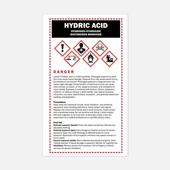 Hydric Acid / DHMO Warning Lab Sticker (Rectangle)