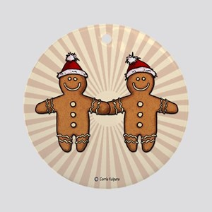 gay gingerbread couple Ornament (Round)