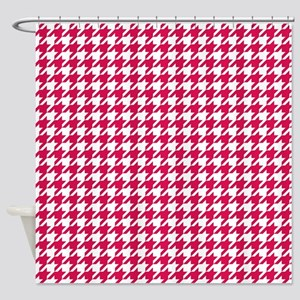 Ruby Red Houndstooth Pattern Shower Curtain