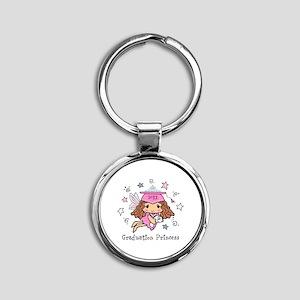 Graduation Princess Personalized Round Keychain
