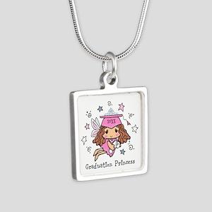 Graduation Princess Person Silver Square Necklace