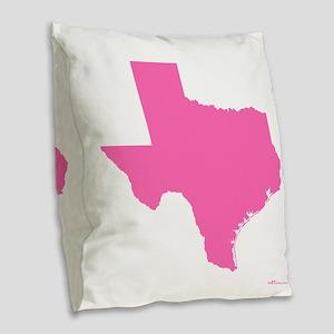Bright Pink Texas Outline Burlap Throw Pillow