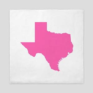 Bright Pink Texas Outline Queen Duvet